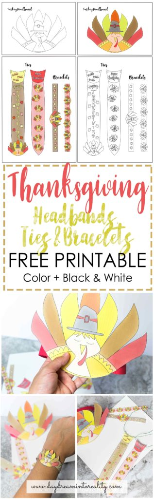 photograph regarding Printable Thanksgiving Craft referred to as Absolutely free Printable Turkey Headband, Ties And Bracelets Craft