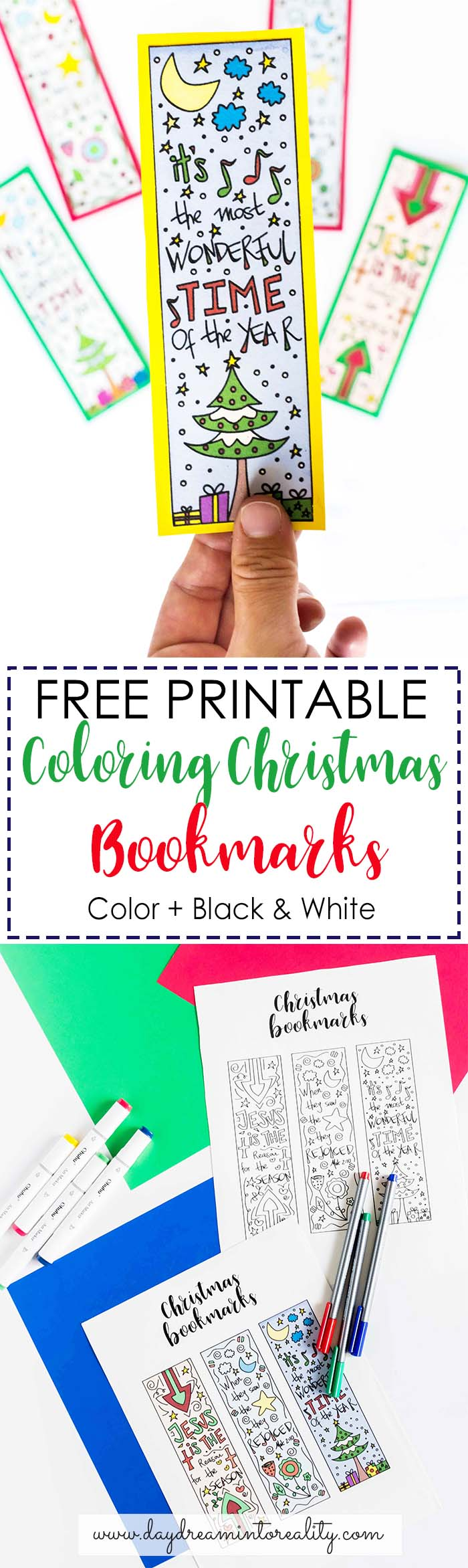This is a photo of Sweet Free Printable Christmas Bookmarks to Color