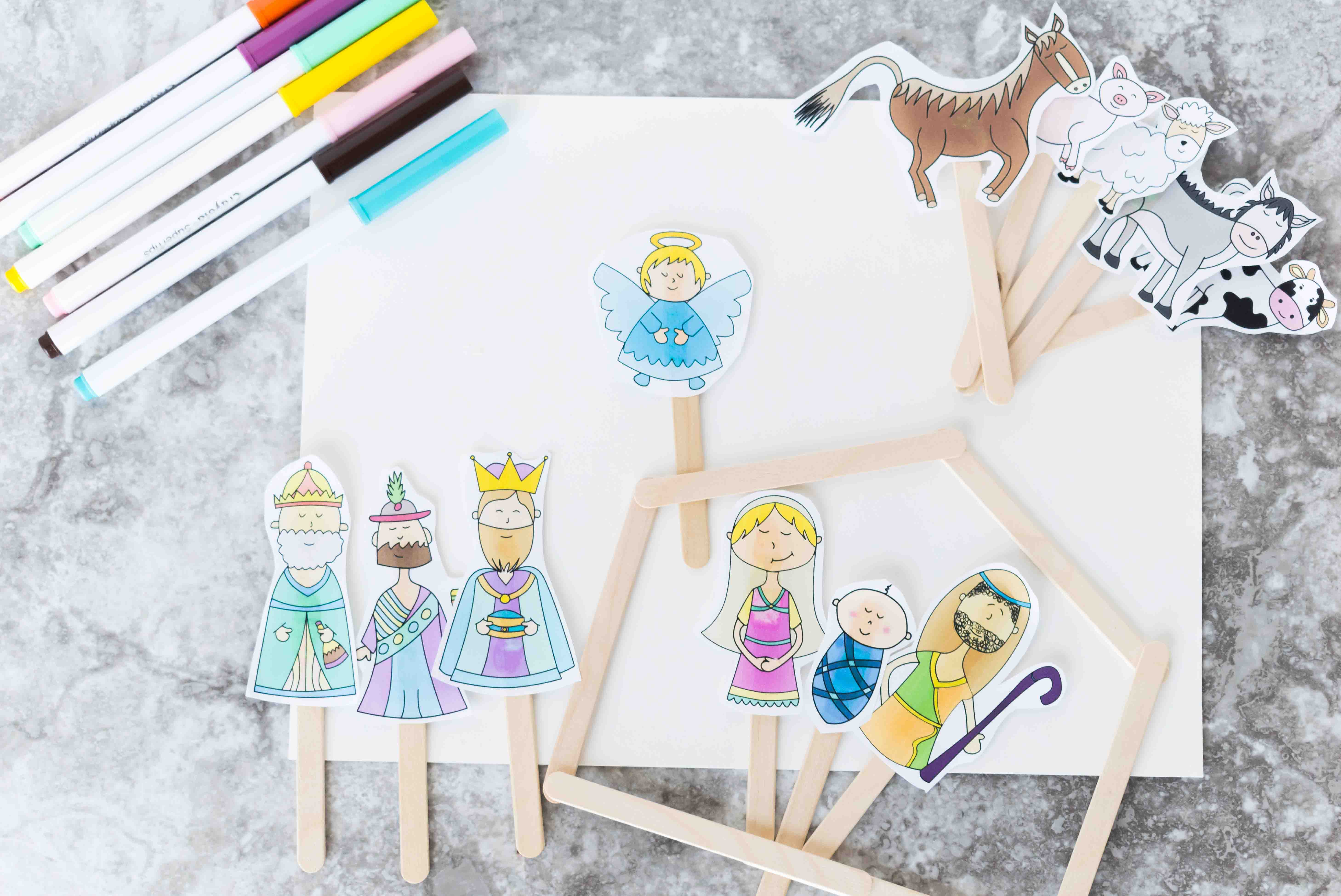 image regarding Printable Puppets on a Stick identify Xmas Tale Adhere Puppets No cost Printable