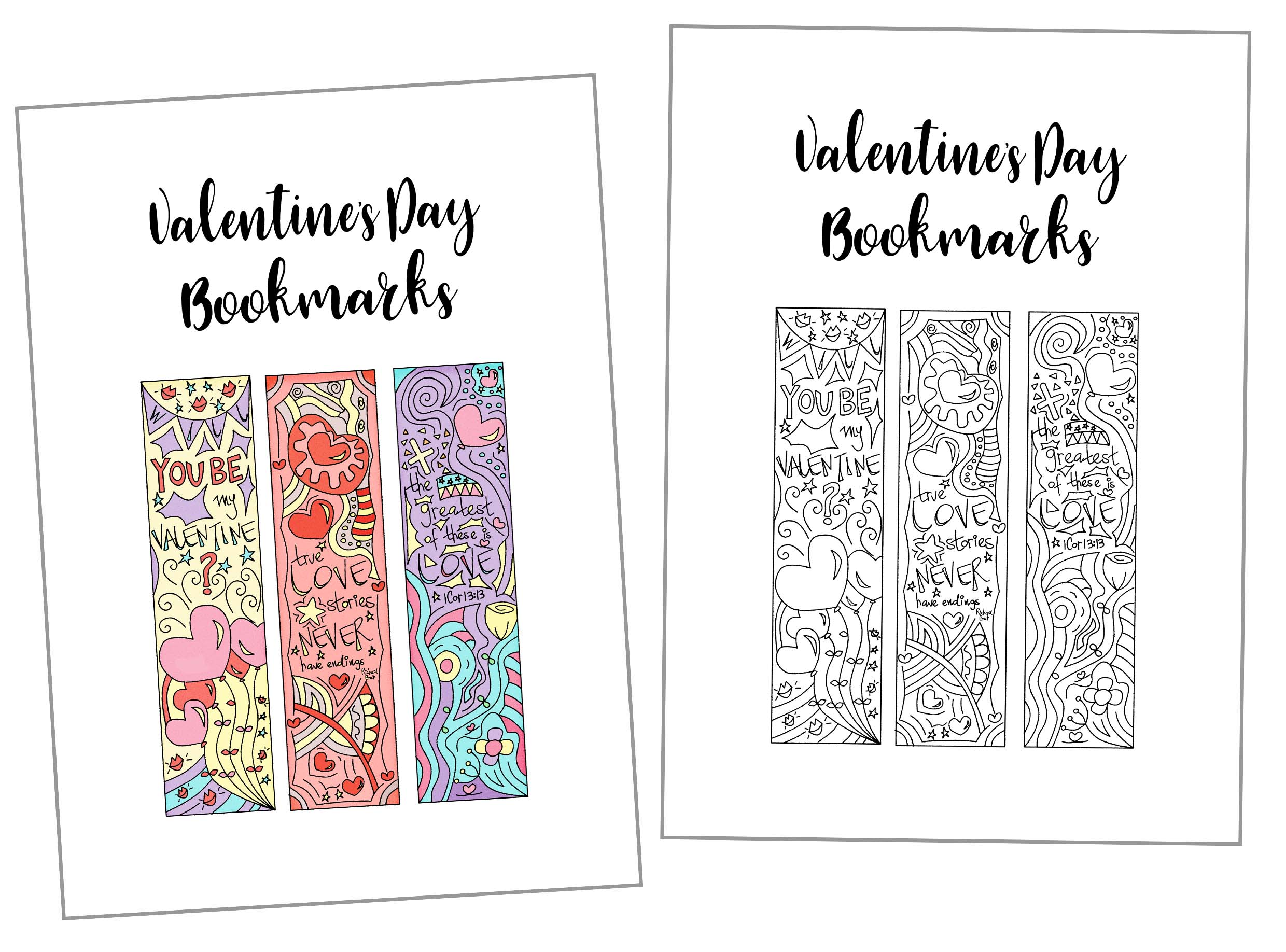 picture about Cute Bookmarks Printable identified as Coloring Valentines Working day Bookmarks Totally free Printable
