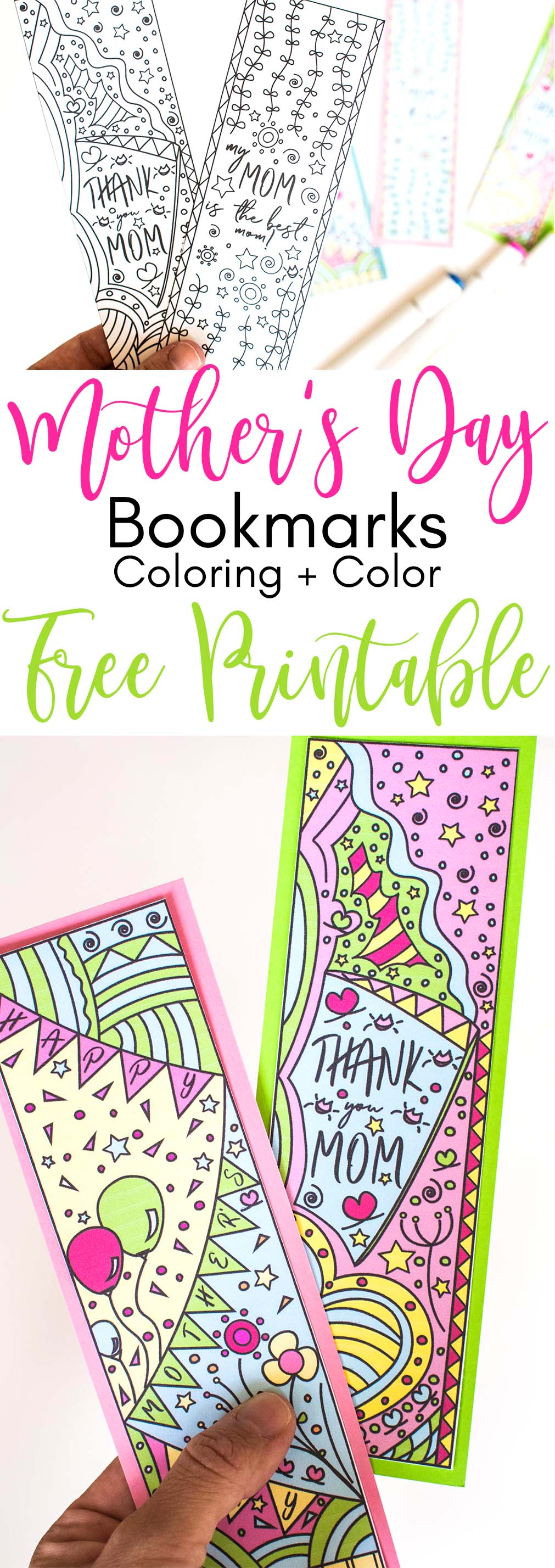 image regarding Mother's Day Bookmarks Printable Free identified as Coloring Moms Working day Bookmarks Free of charge Printable