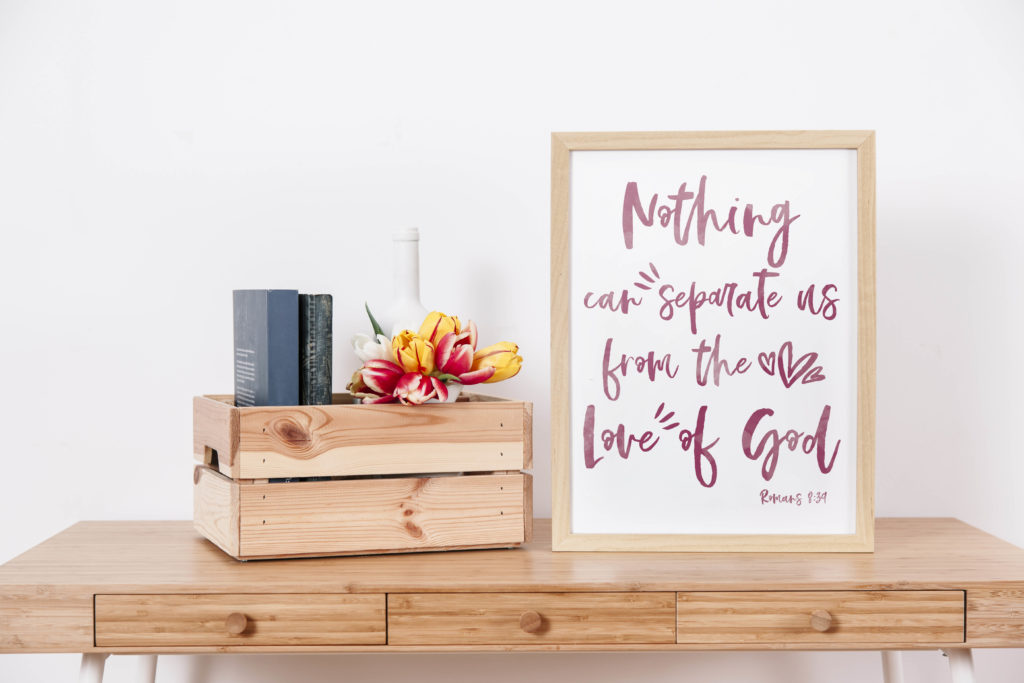 I designed this Romans 8:39 Free Wall Art as reminder of God's unconditional love. Do you need a reminder too? Print this beautiful wall art and display it in your home so you never forget you're not alone!