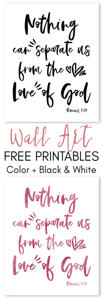 I designed thisRomans 8:39 Free Wall Artas reminder of God's unconditional love. Do you need a reminder too? Print this beautiful wall art and display it in your home so you never forget you're not alone!