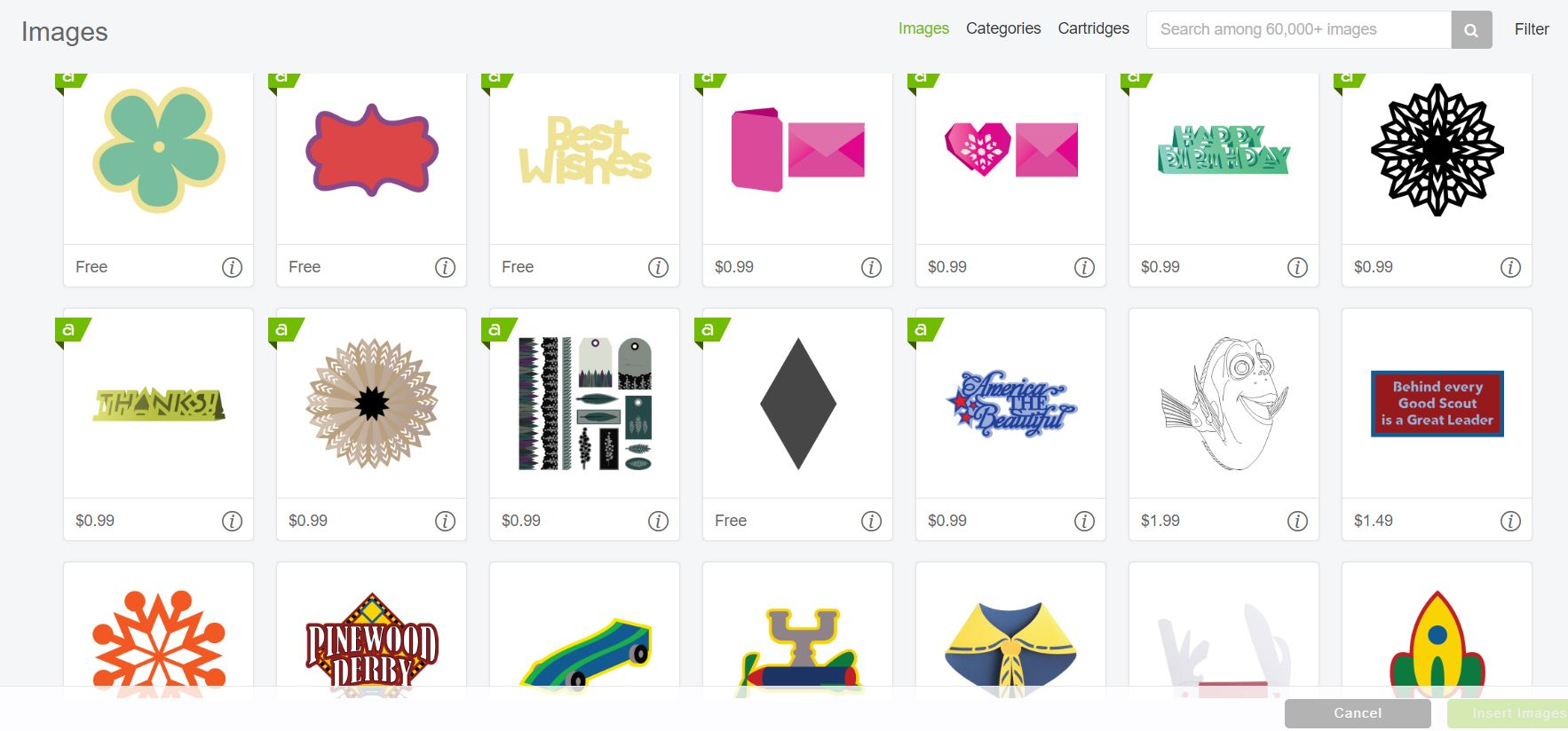 Some of the designs you will find inside the Cricut Design Space Library.