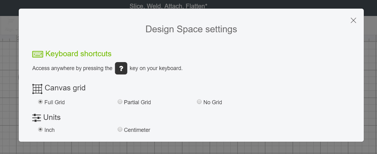 Design Space Settings For turning grid off and on