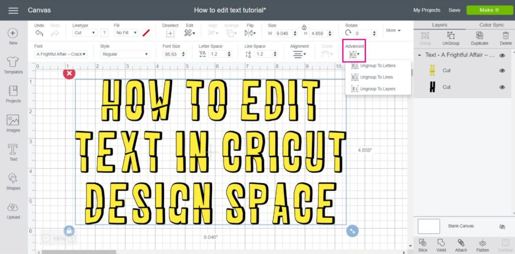 Screenshot of Advanced Options in Cricut Design Space