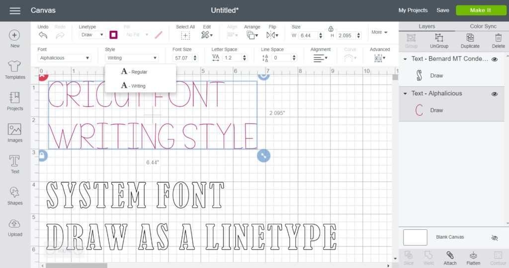 Screenshot showing the difference between Cricut Fonts and System Fonts in Cricut Design Space
