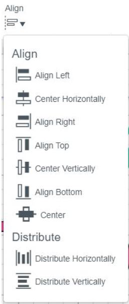 Alignment Drop Down Menu, cricut design space.