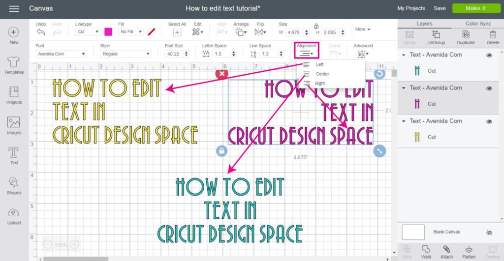 Screen Shot for text alignment in Cricut Design Space