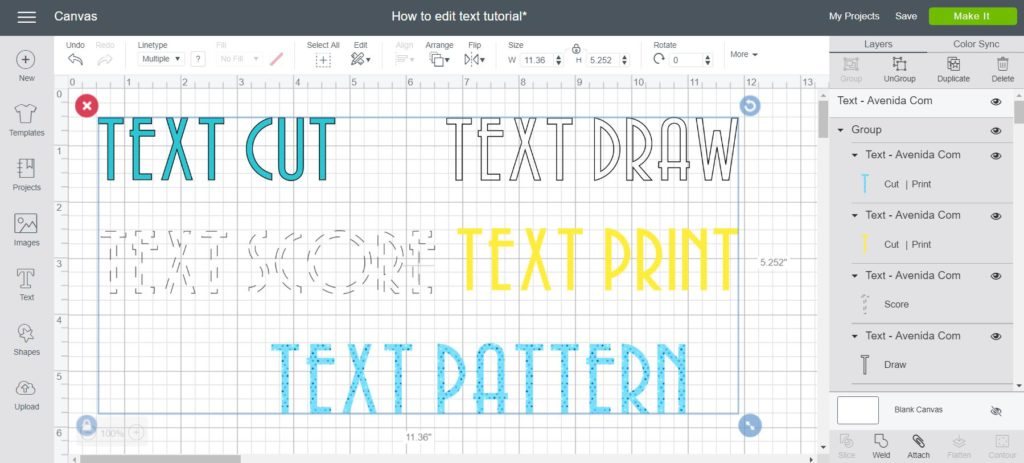 Screenshot of Linetype and fill options for text in Cricut design space.