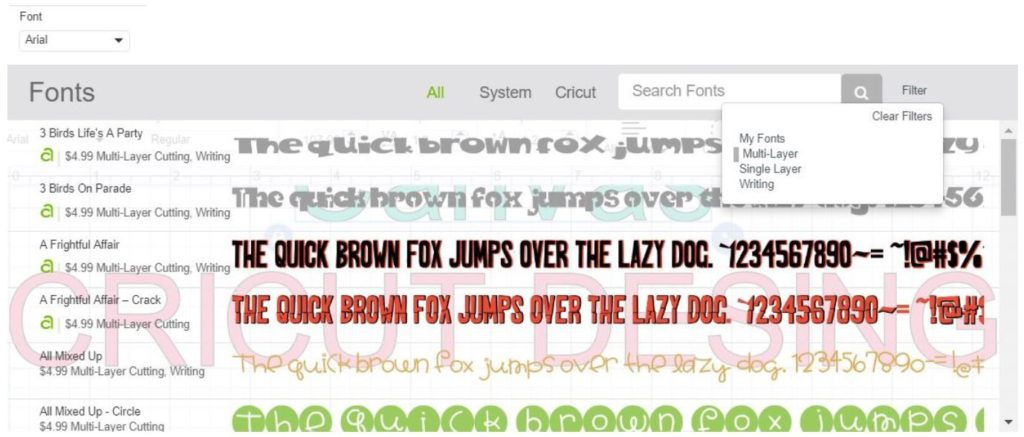 How to filter fonts