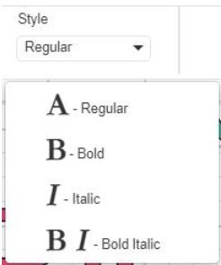 Screenshot of Font Style in Cricut Design Space