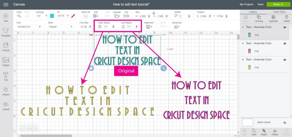 Screenshot of how letter space and Lines Space work in Cricut Design Space