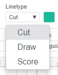 Screenshot of linetype drop down menu Cricut Design Space