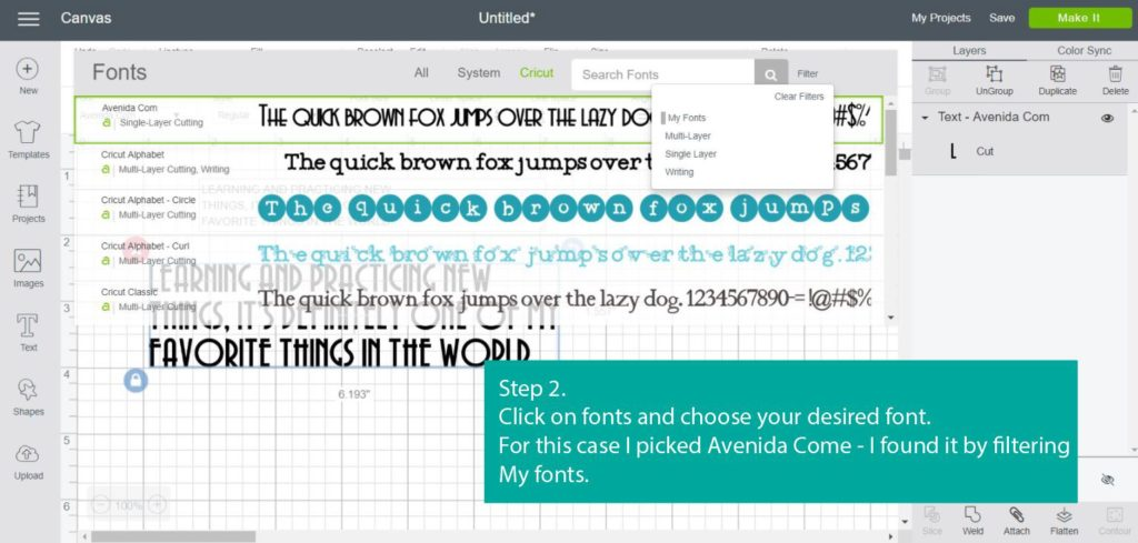 Screenshot of - Step 2 - Choose your font - Cricut Design Space