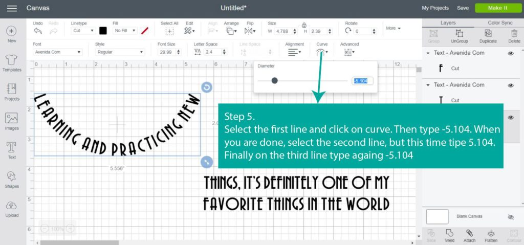 Tutorial Screenshot of - Step 5 curving text in Cricut Design Space