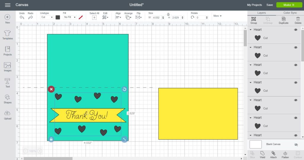 Screenshot of making a cut out card. First Step.