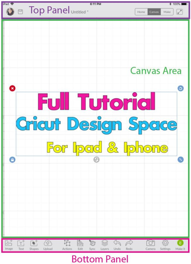Cricut Design Space App divided in 3 sections