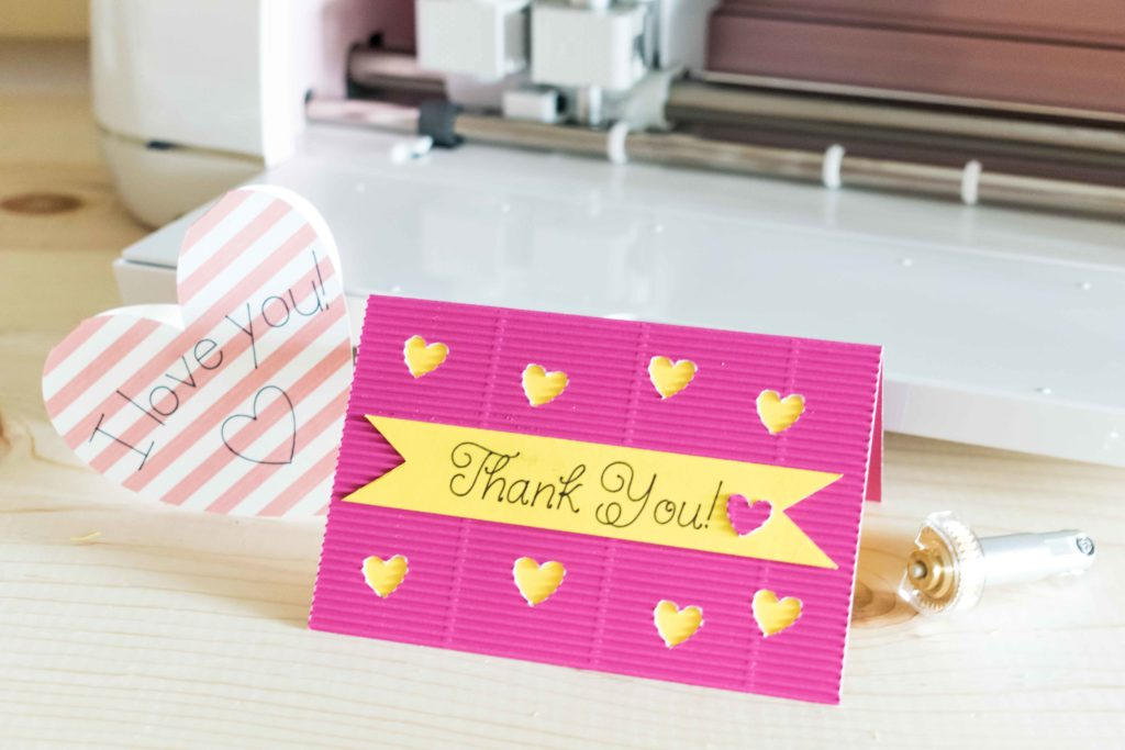 Thank You Card and I love you Card made with the Cricut Maker