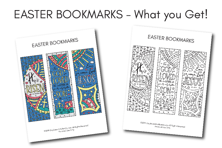 Different Easter Bookmarks - Coloring and Color options