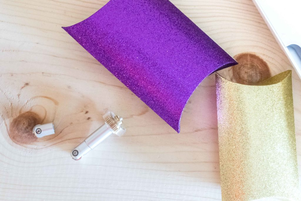 Finished purple and gold pillow box made with the Scoring Wheel