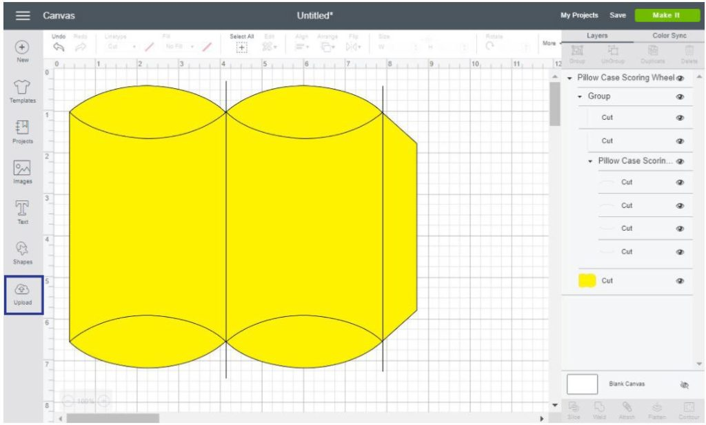Screenshot of pillow box template to Cricut Design Space