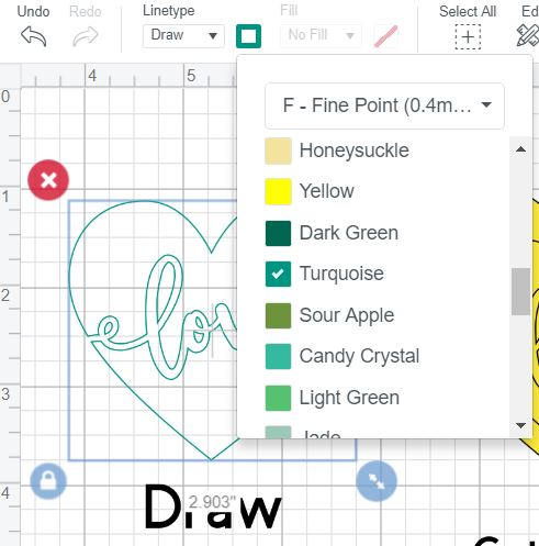 Screenshot showing how to change the color of your Cricut Pens