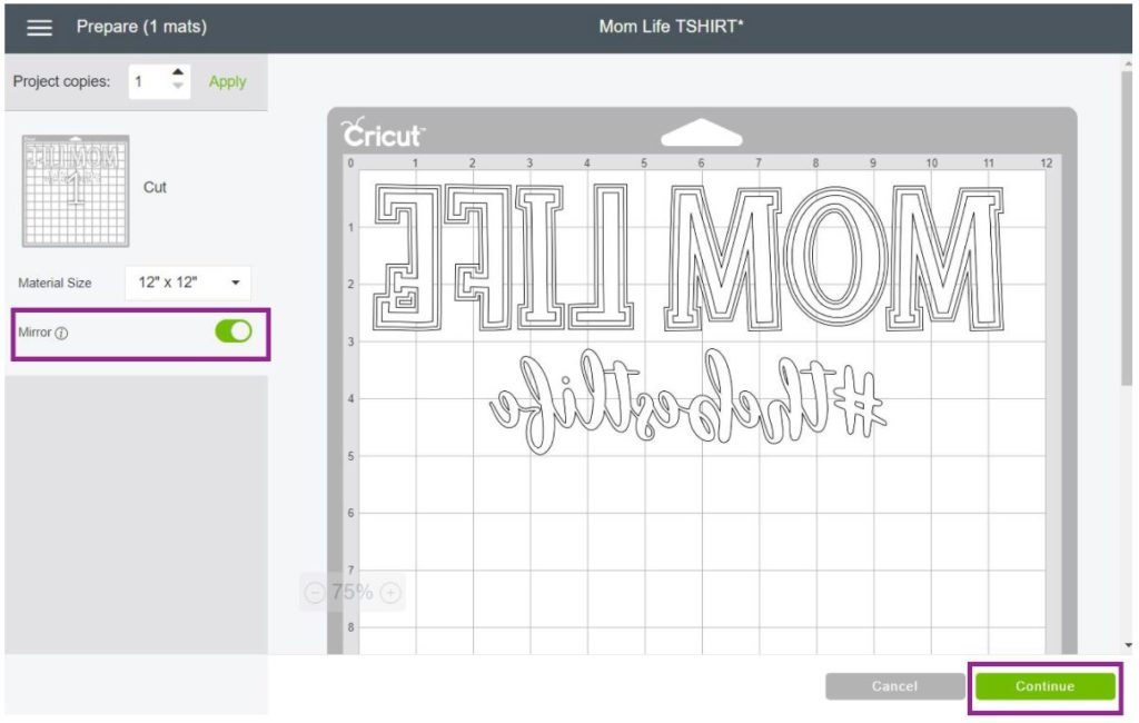 Screenshot of Mirror On Image Cricut Design Space