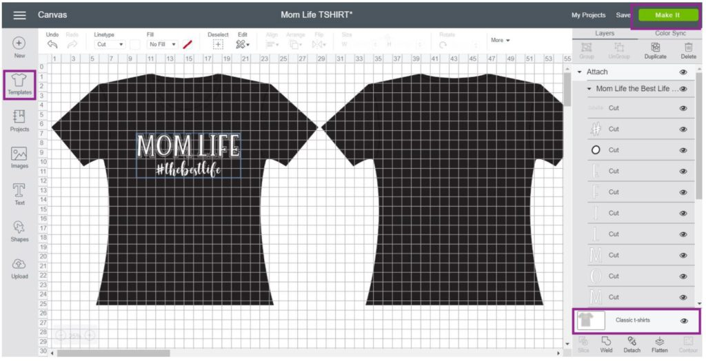 Screenshot of Cricut templates to visualize your design on your t-shirt