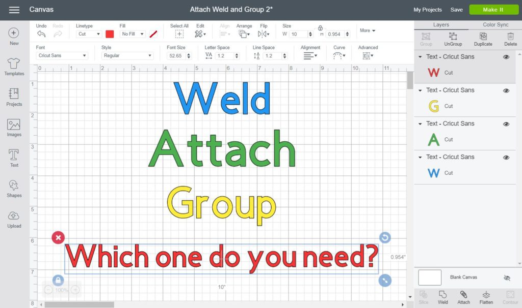 What Do Weld, Attach, & Group mean on Cricut - Screenshot