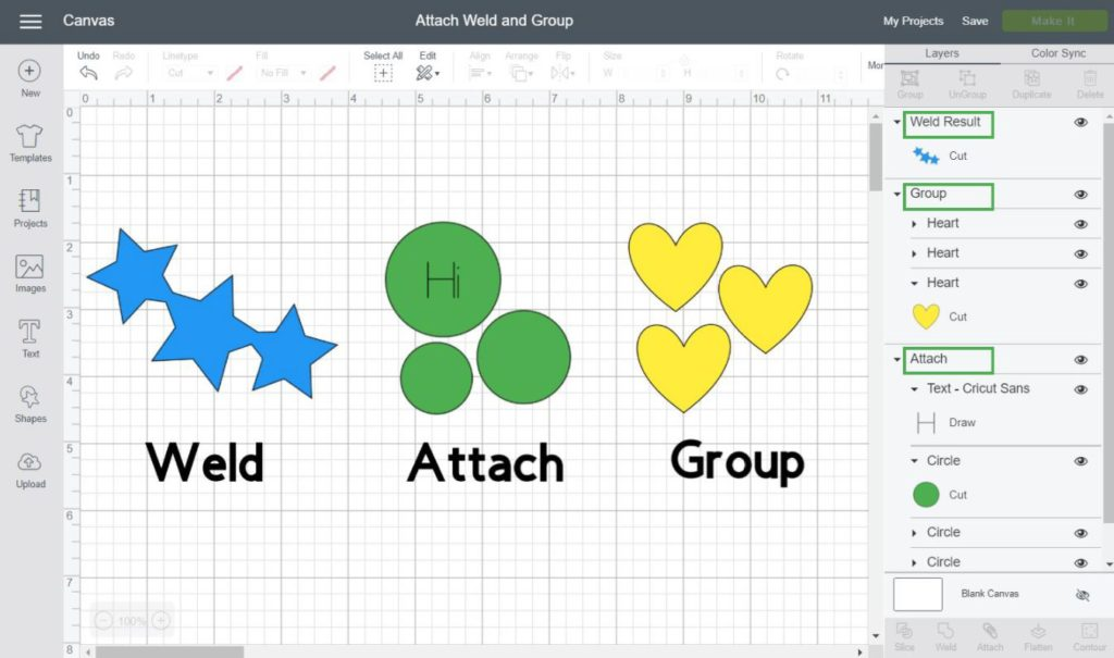 Screenshot of examples of Weld, Attach and Group.