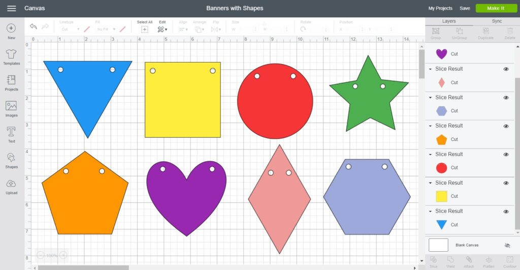 Screenshot Cricut Design Space: Using different shapes to create banners (triangle, square, circle, star, pentagon, heart, diamond, hexagon.