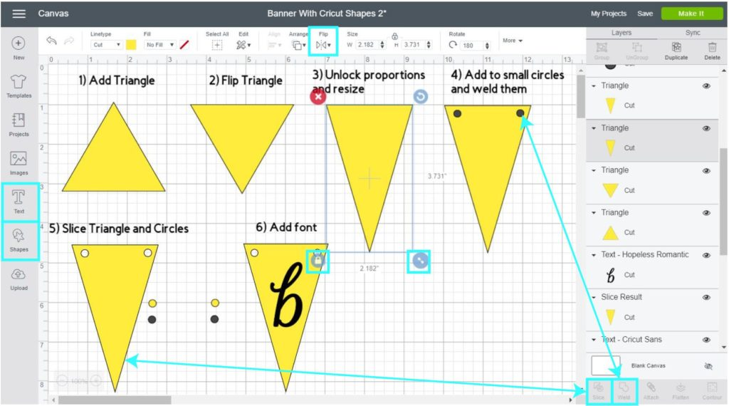 Screenshot Cricut Design Space: step by step tutorial of making a banner with shapes
