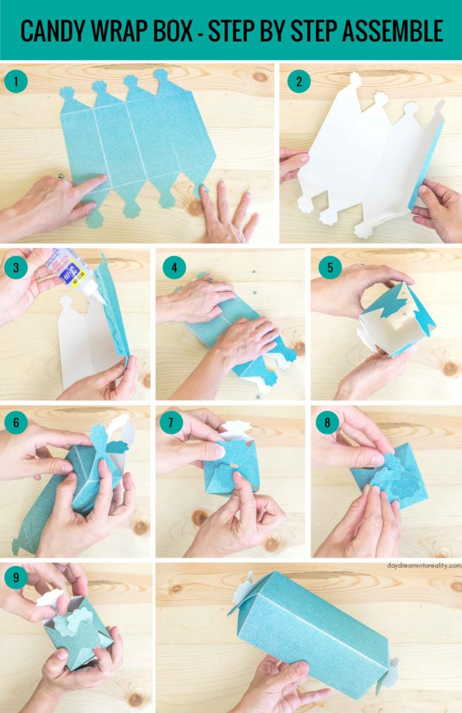 Candy Wrap Box - Step by Step Assemble info-graphic
