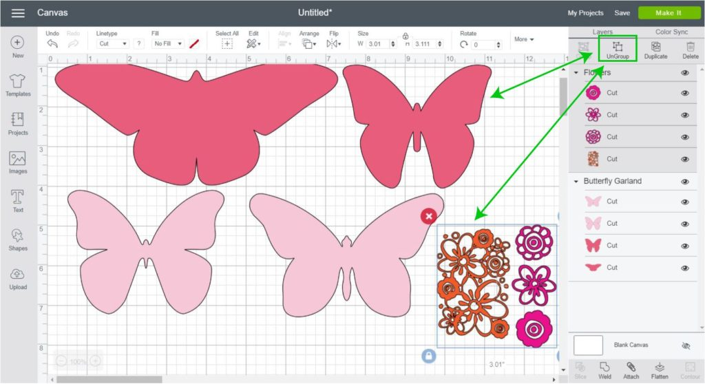 Screenshot - Ungroup Images in Cricut Design Space