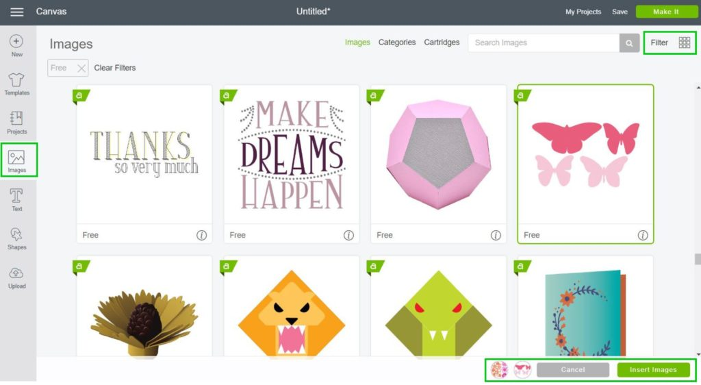 Screenshot - Insert Images in Cricut Design Space