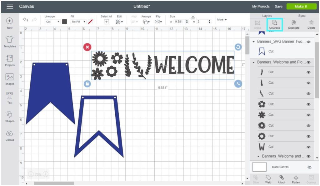 Screenshot Cricut Design Space: Ungroup each SVG file