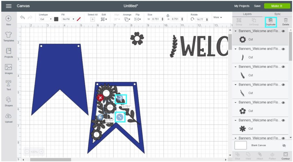 Screenshot Cricut Design Space: Overlap each flower and branch with the hollow banner