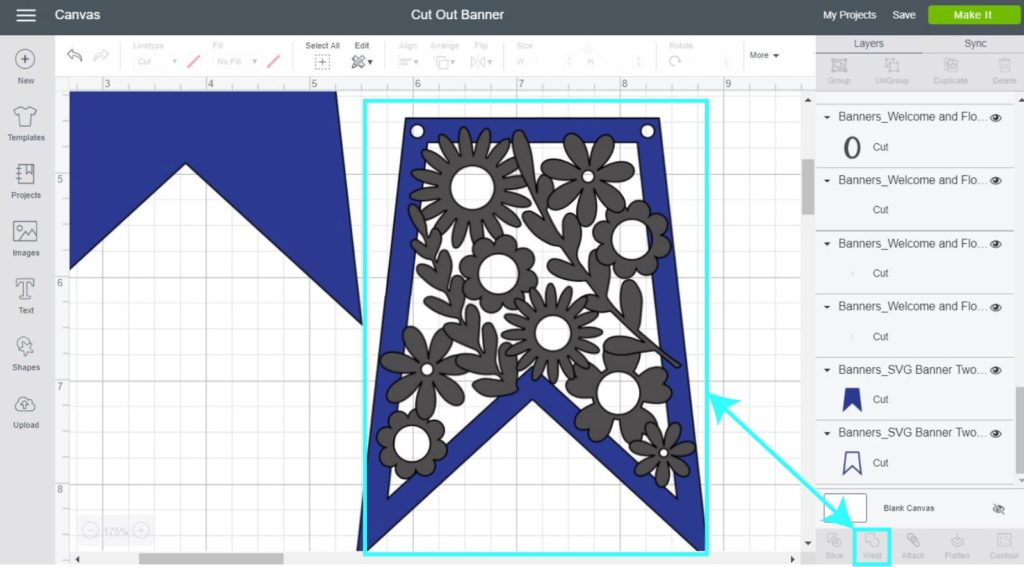 Screenshot Cricut Design Space: weld flowers with banner