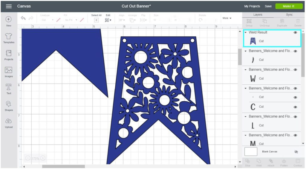 Screenshot Cricut Design Space: weld result; everything needs to be overlapped.