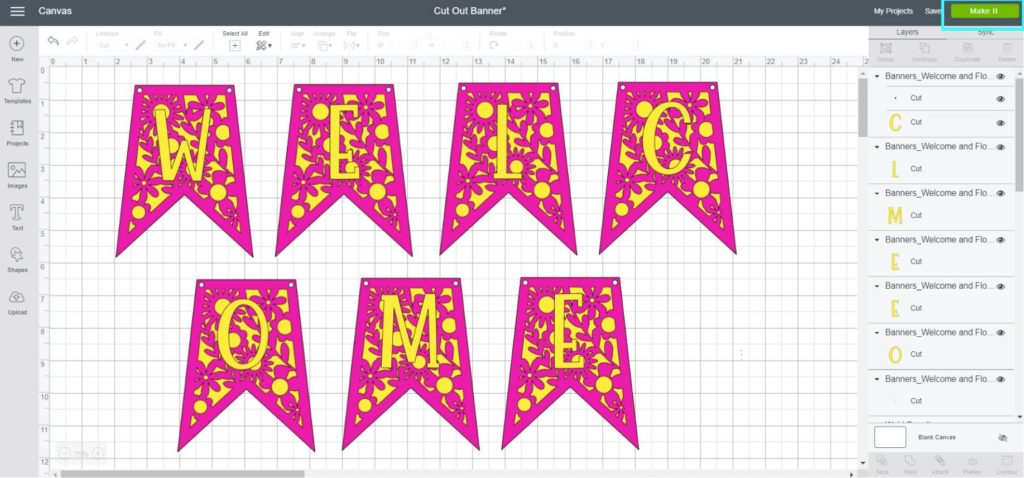 Screenshot Cricut Design Space: Final look of the banner before cutting it