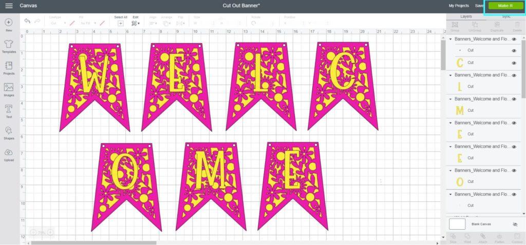 Screenshot Cricut Design Space: Final look of the banner before cutting it