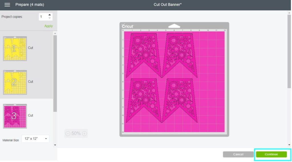 Screenshot Cricut Design Space: Cutting process started
