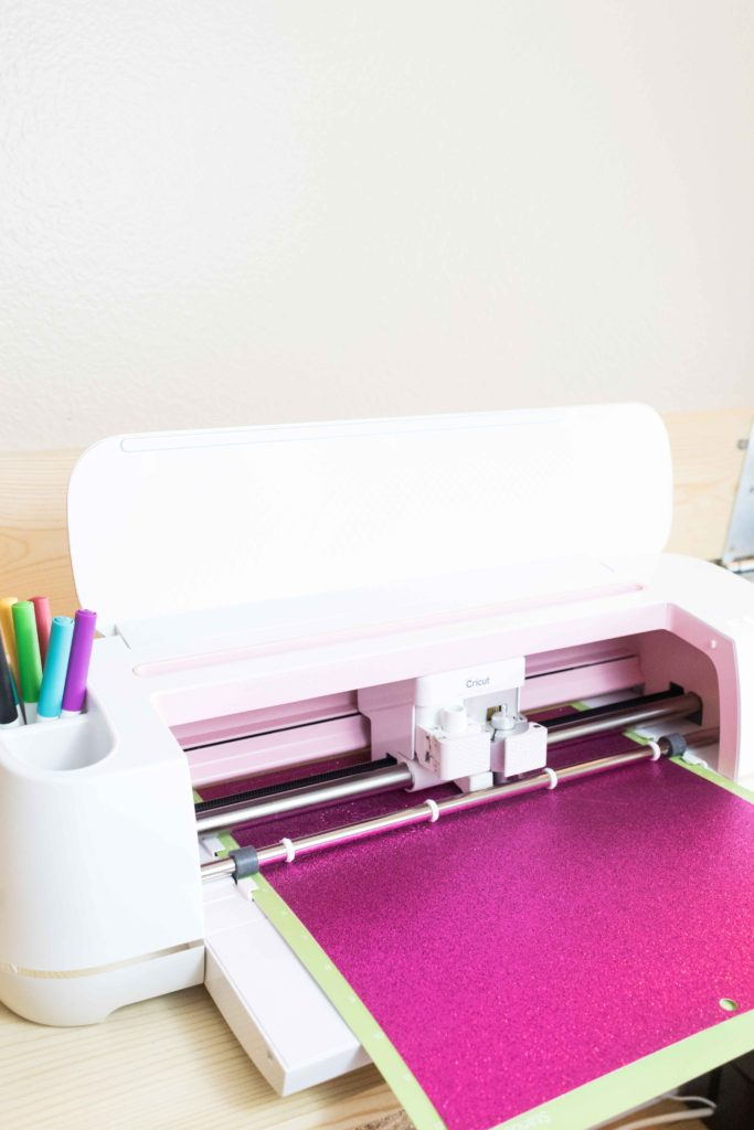 Cricut Maker Cutting Pink Glitter Cardstock