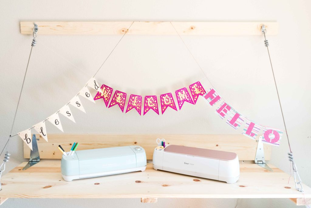 Displaying three different banners made with the Cricut Maker and Cricut Explore - Using Cricut Shapes, fonts, and FREE Banner Templates