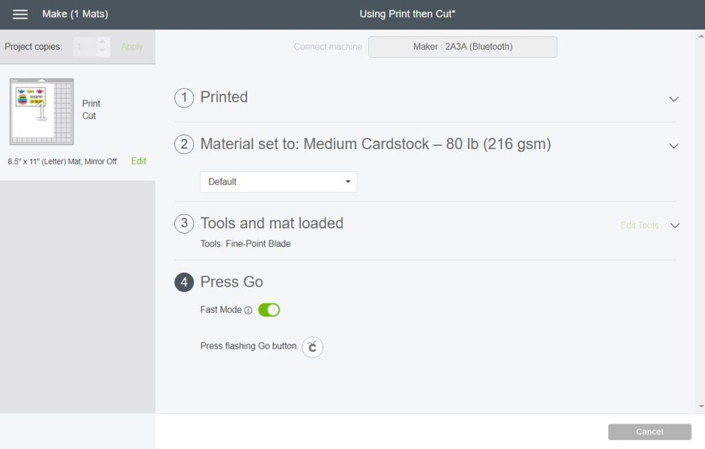 Screenshot to select material, install blade, and go in Cricut Design Space