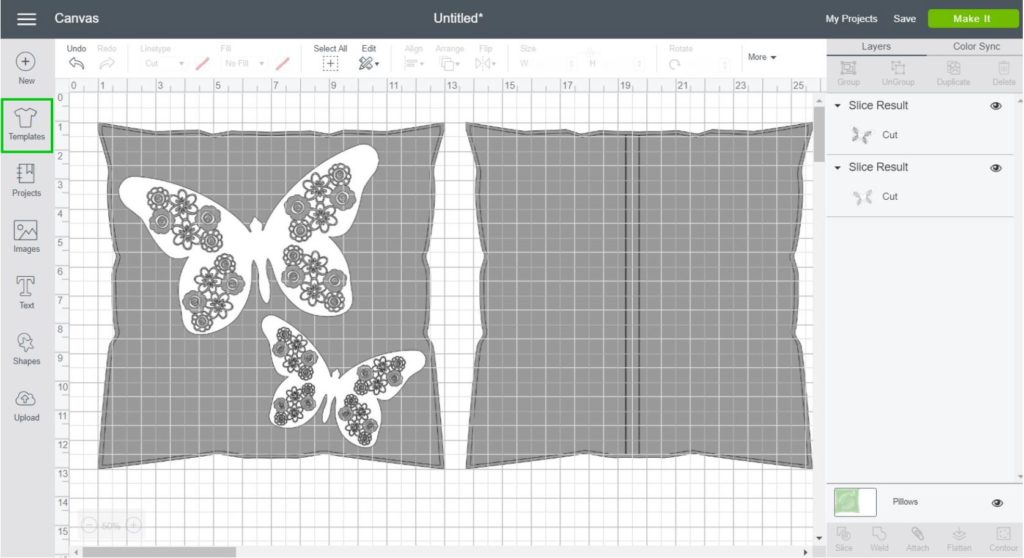Placing Sliced Butterfly on Throw Pillow Template in Cricut Design Space