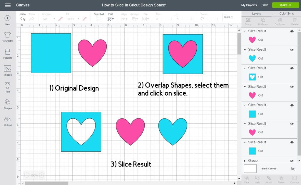 Screenshot of how to slice images inside Cricut Design Space