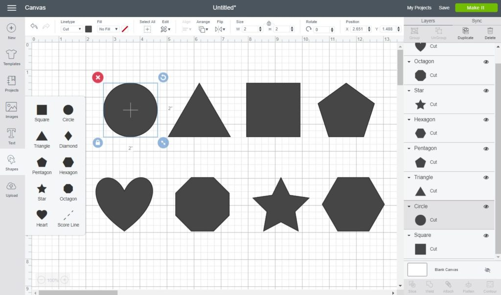 Screenshot Cricut Design Space: All of the shapes you can add (Circle, Triangle, Square, Pentagon, heart, star and more)
