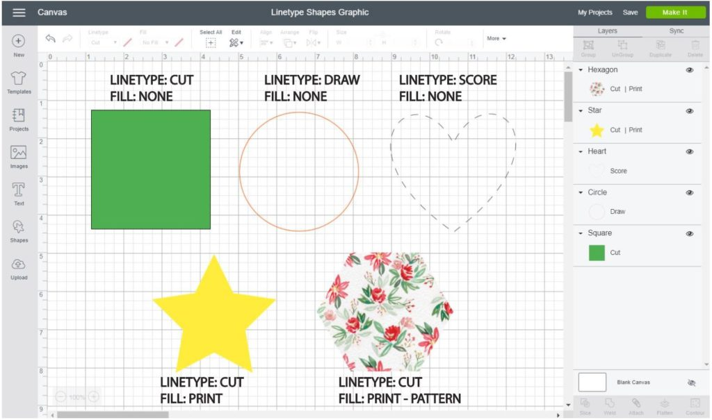 Screenshot Cricut Design Space: Of how to cut, draw, score and print then cut a shape